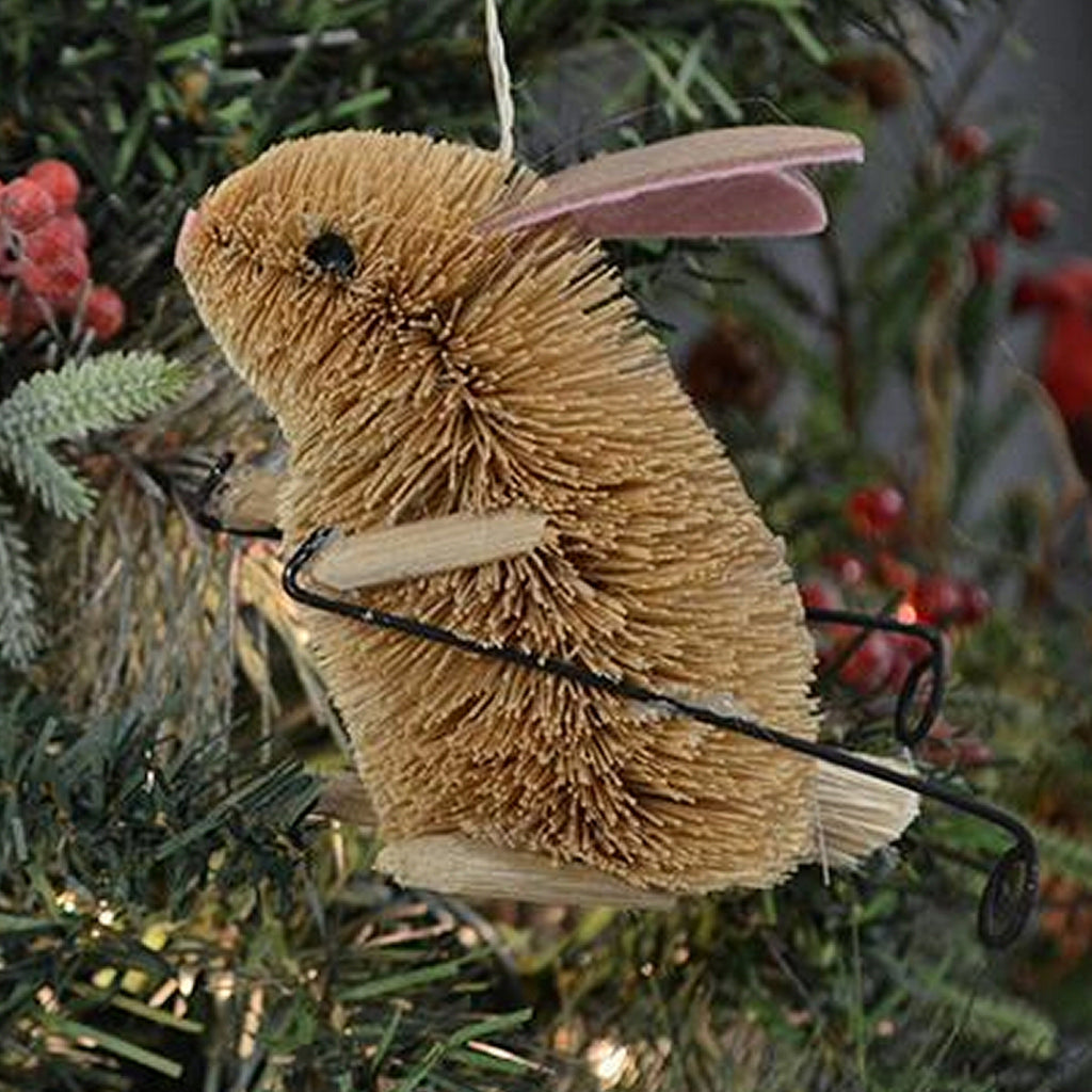 Rabbit on Skis Bristle Brush Ornament