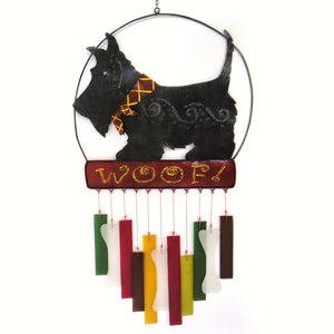 Woof Scottie Glass Wind Chime