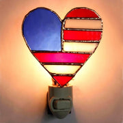 Patriotic Heart Stained Glass Night Light