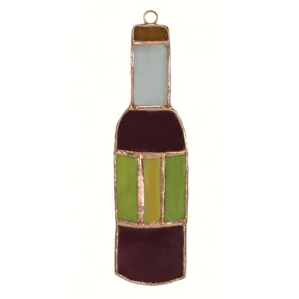 Wine Bottle Stained Glass Suncatcher
