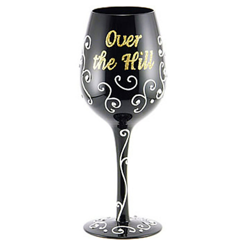Over the Hill Wineglass