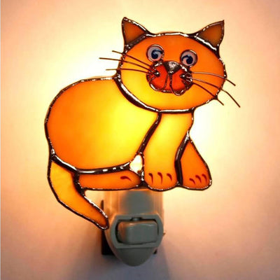 Tan Cat Stained Glass Night Light