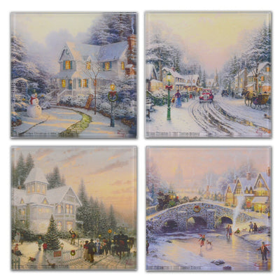 Winter Scenes Holiday Glass Coaster Set