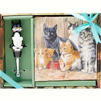 Playful Cat Wine Stopper Gift Set