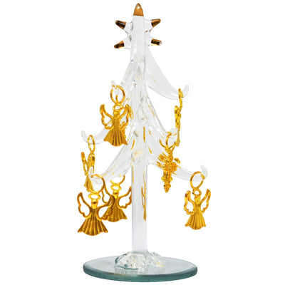 Glass Tree w/Angel Ornaments 6 inch