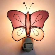 Purple/Pink Butterfly Stained Glass Night Light