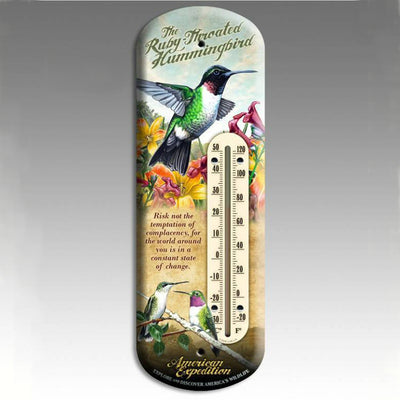 Hummingbird Tin Thermometer 11 inch