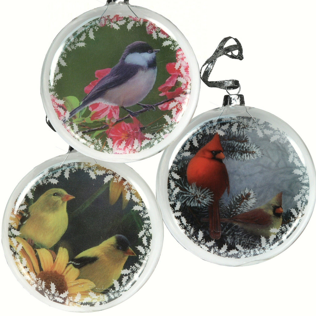 Glass Songbird Ornaments Set of 3