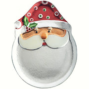Santa Glass Holiday Serving Platter