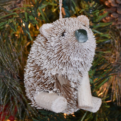 Polar Bear Bristle Brush Ornament