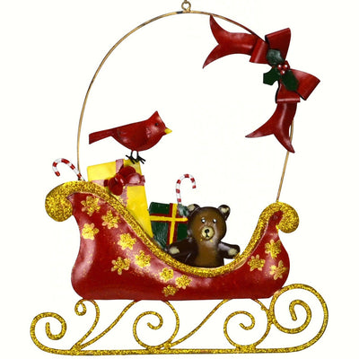 Cardinal & Bow Sleigh Hanging Decoration