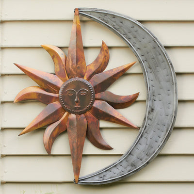 Sun & Moon Flamed/Zinc Metal Wall Sculpture
