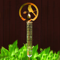 Flamed Bird Staked Rain Gauge