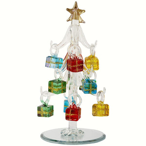 Glass Tree w/Gift Ornaments 6 inch