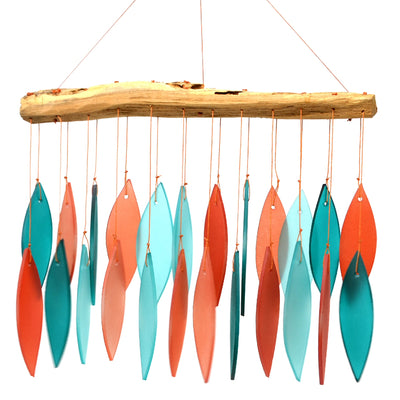 Coral/Teal Glass & Driftwood Wind Chime