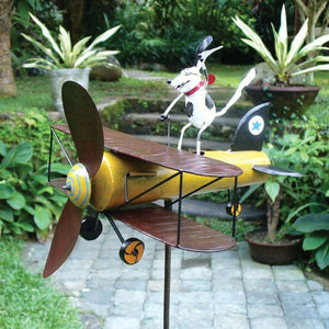 Dog Airplane Whirligig Garden Stake