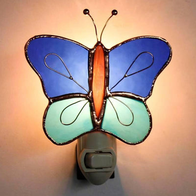 Blue Butterfly Stained Glass Night Light