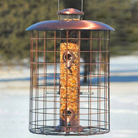 Caged 6-Port Bird Feeder Brushed Copper