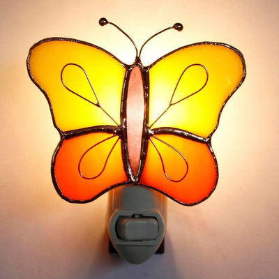 Yellow/Orange Butterfly Stained Glass Night Light