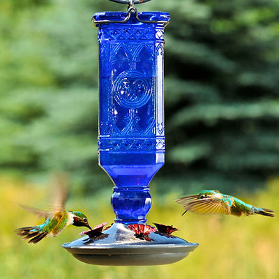 Antique Blue Glass Hummingbird Feeder