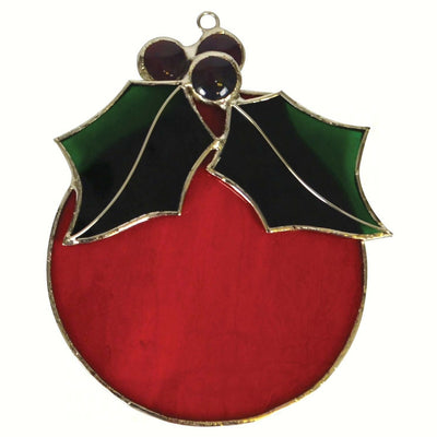 Red Ball Ornament Stained Glass Suncatcher