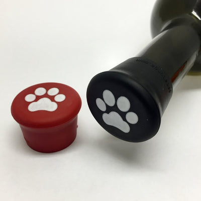 Paws (Red & Black) Silicone Wine Bottle Caps