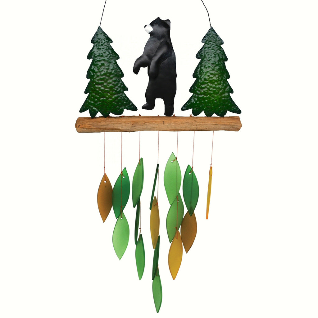 Forest Bear Glass Wind Chime