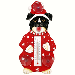 Holiday Dog Window Thermometer Small