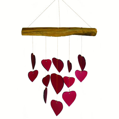 Red Hearts Glass Wind Chime