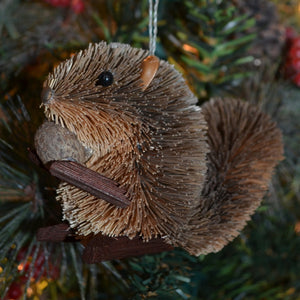 Squirrel Grey Bristle Brush Ornament
