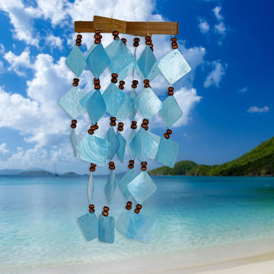 Diamond Blue Capiz Wind Chime