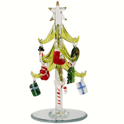 Glass Tree w/Holiday Ornaments 6