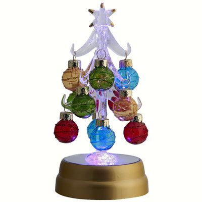 Glass Light Up Tree w/Ornaments 6 inch