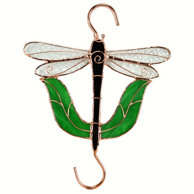Black Dragonfly Stained Glass Hanging Hook