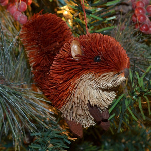 Squirrel Red Bristle Brush Ornament
