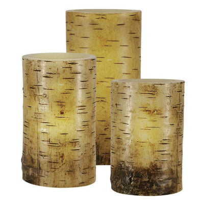 Flameless Golden Birch LED Candles Set of 3