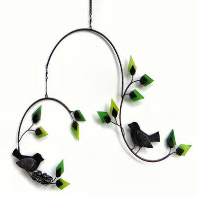 Forest Birds Glass Garden Mobile
