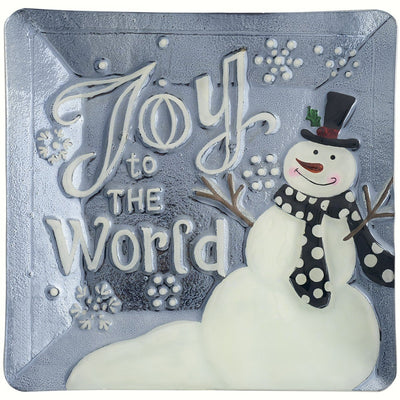 Snowman Joy Glass Holiday Serving Platter