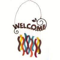 Welcome Sandblasted Glass Wind Chime