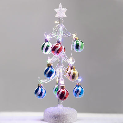 Glass Light Up Tree w/Ornaments 10 inch