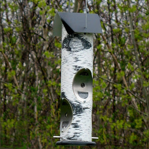 Birch Log Nyjer Tube Bird Feeder
