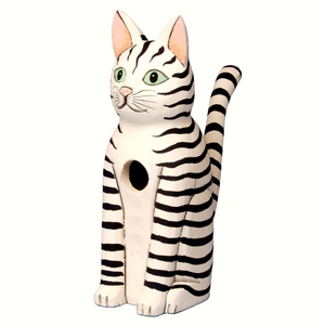 Striped Cat Sitting Wooden Birdhouse