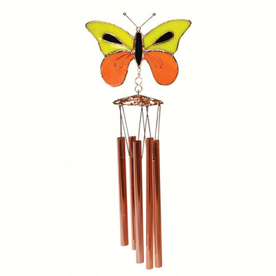 Yellow/Orange Butterfly Stained Glass Wind Chime