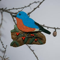 Bluebird w/Holly Tree Ornament