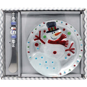 Snowman Glass Serving Plate Gift Set