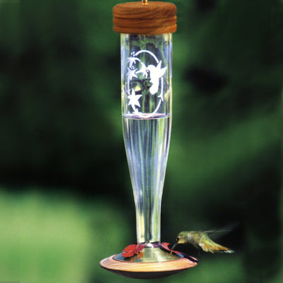 Etched Glass Crystal Hummingbird Feeder