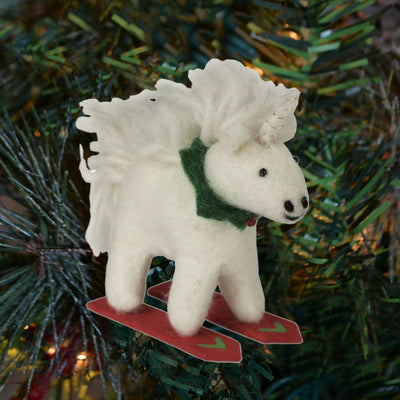Unicorn Skiing Wool Ornament