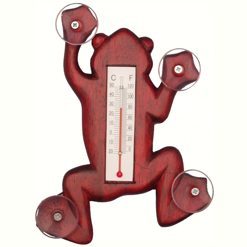 Stained Frog Window Thermometer Small