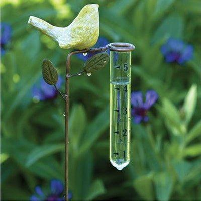 Yellow Bird Staked Rain Gauge