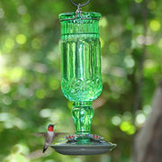 Antique Green Glass Hummingbird Feeder - Momma's Home Store